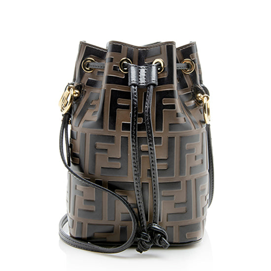 Fendi FF Embossed Calfskin Mon Tresor Mini Bucket Bag