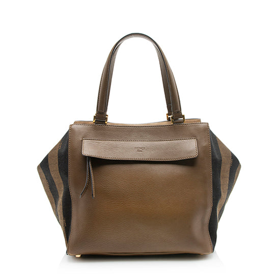 Fendi Pequin Mixed Media Medium Satchel