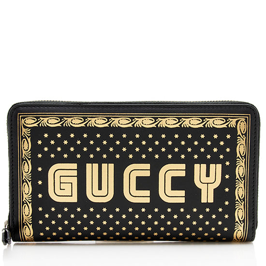Gucci Calfskin Star Print Guccy Zip Around Wallet
