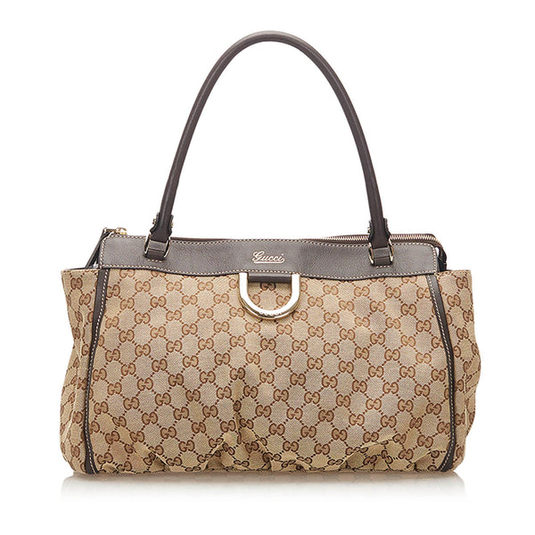 Gucci GG Abbey-D Ring Canvas Tote Bag (SHG-18453)