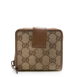 Gucci GG Canvas Zip Around Compact Wallet