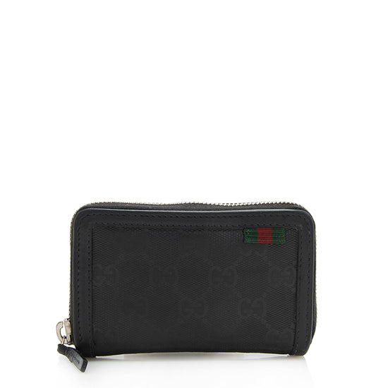 Gucci GG Imprime Web Loop Zip Card Case Wallet