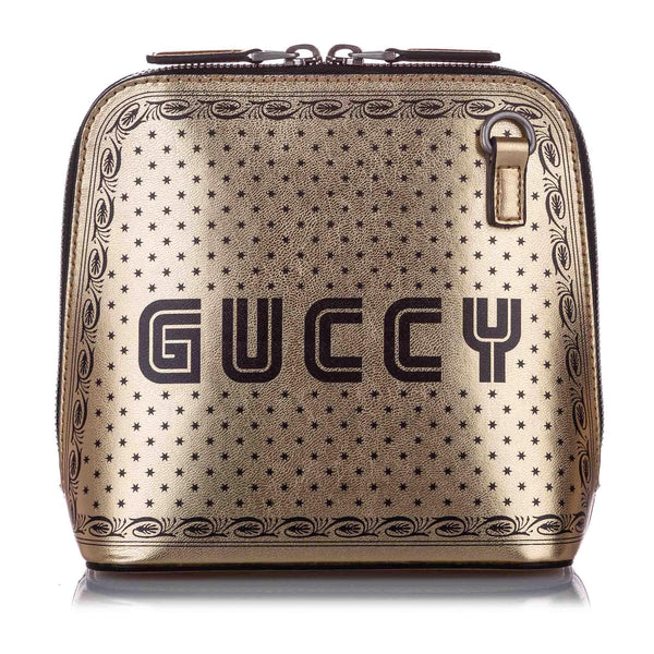 Gucci Metallic Leather Guccy Sega Shoulder Bag (SHG-10188)