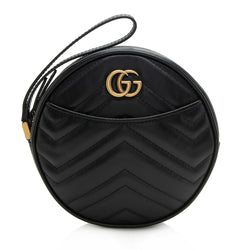 Gucci Matelasse Leather GG Marmont 2.0 Round Wristlet