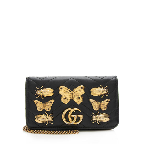 Gucci Matelasse Leather GG Marmont Animal Studs Mini Bag