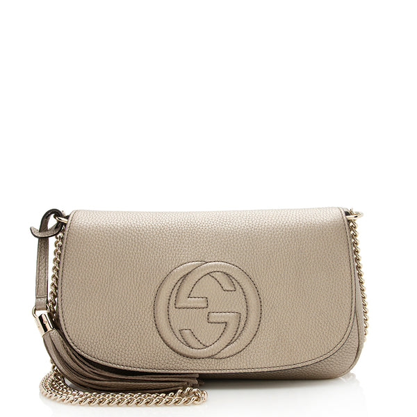 Gucci Metallic Leather Soho Flap Shoulder Bag