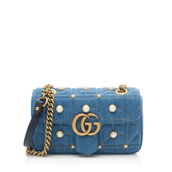 Gucci Quilted Denim Pearl GG Marmont Shoulder Bag