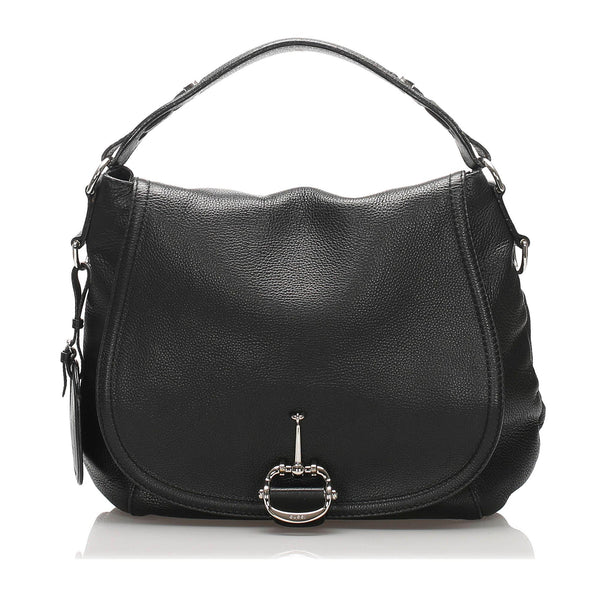Gucci Techno Horsebit Leather Satchel (SHG-10251)