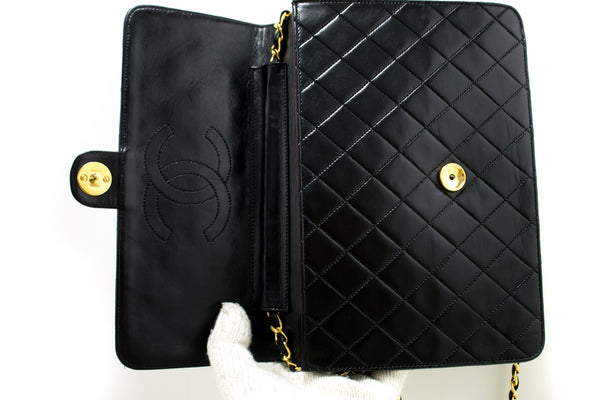 Chanel Black Quilted Lambskin Chain Clutch (SHB-10090)