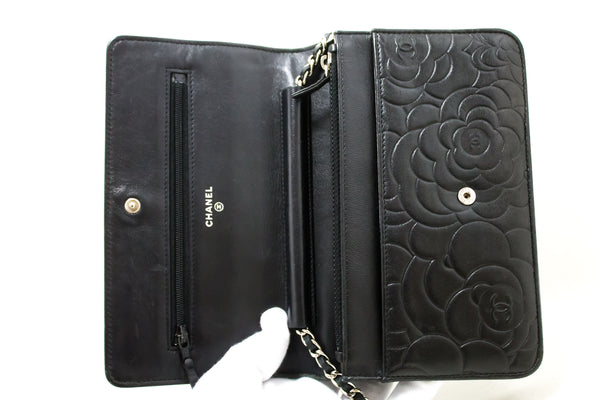 Chanel Black Lambskin Wallet On Chain Camellia Bag (SHB-10184)