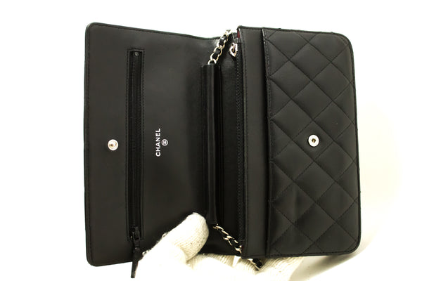 Chanel Black Quilted Lambskin Classic Wallet On Chain WOC (SHB-10023)