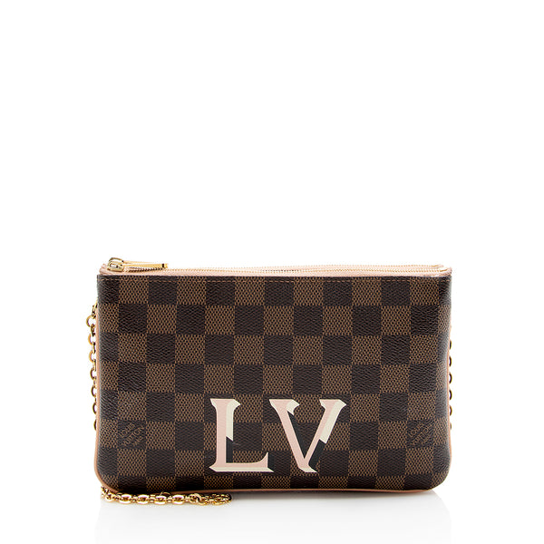 Louis Vuitton Damier Ebene Double Zip Pochette (SHF-13964)