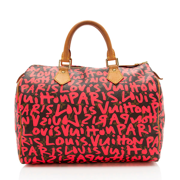Louis Vuitton Limited Edition Monogram Graffiti Speedy 30 Satchel (SHF-12329)