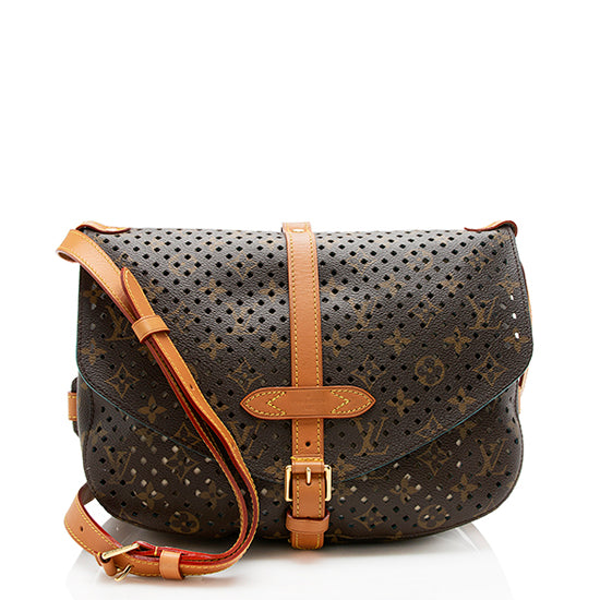 Louis Vuitton Limited Edition Perforated Monogram Canvas Saumur Shoulder Bag