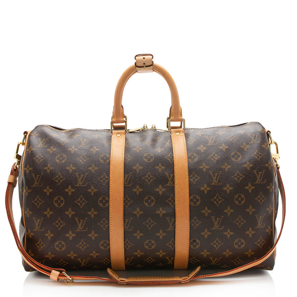 Louis Vuitton Monogram Canvas Keepall 45 Bandouliere Duffel Bag (SHF-11855)