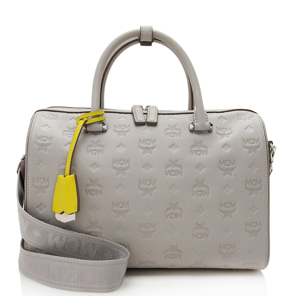 MCM Embossed Monogram Essential Boston Satchel (SHF-12341)
