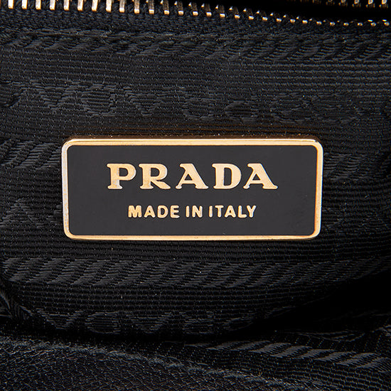 Prada Leather Madras Cerniera Framed Satchel
