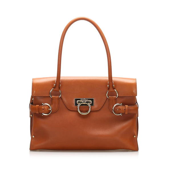 Salvatore Ferragamo Gancini Leather Handbag (SHG-11891)