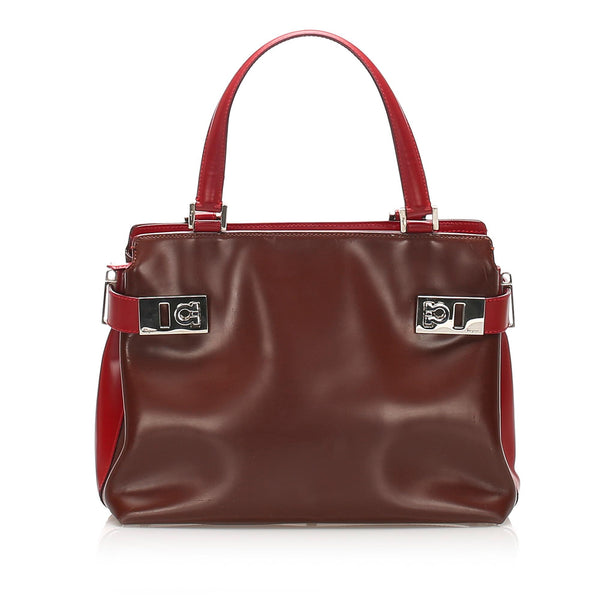 Salvatore Ferragamo Gancini Leather Satchel (SHG-11923)
