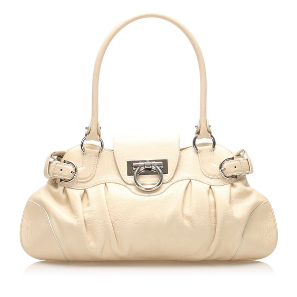 Salvatore Ferragamo Gancini Marisa Leather Handbag (SHG-11810)