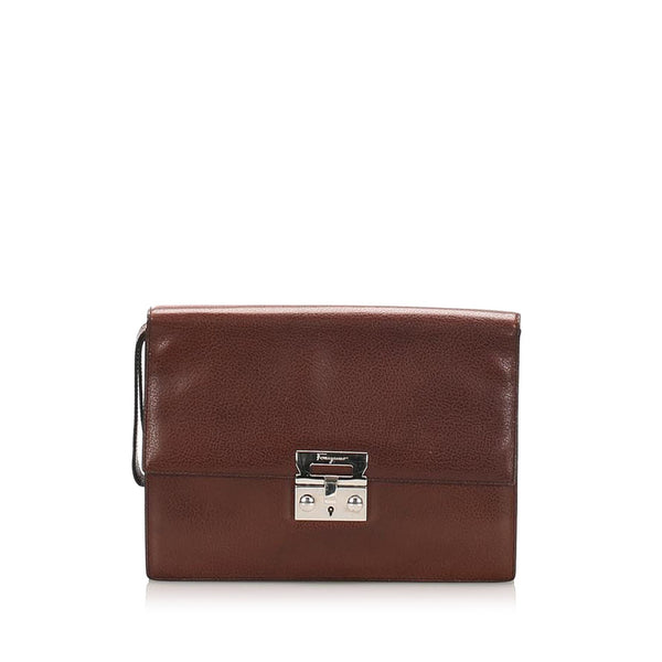Salvatore Ferragamo Leather Clutch Bag (SHG-11890)