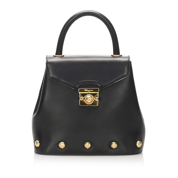 Salvatore Ferragamo Studded Leather Handbag (SHG-11927)