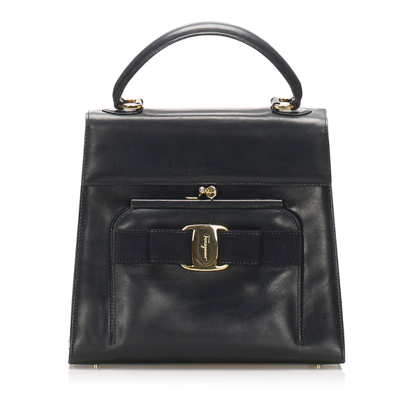 Salvatore Ferragamo Vara Leather Handbag (SHG-11926)