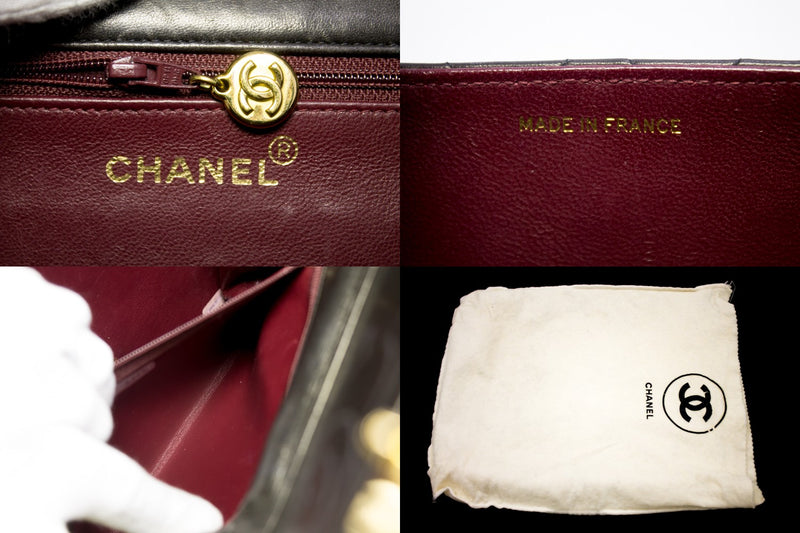 Chanel  Black Quilted Lambskin Classic Flap Bag (SHB-10288)