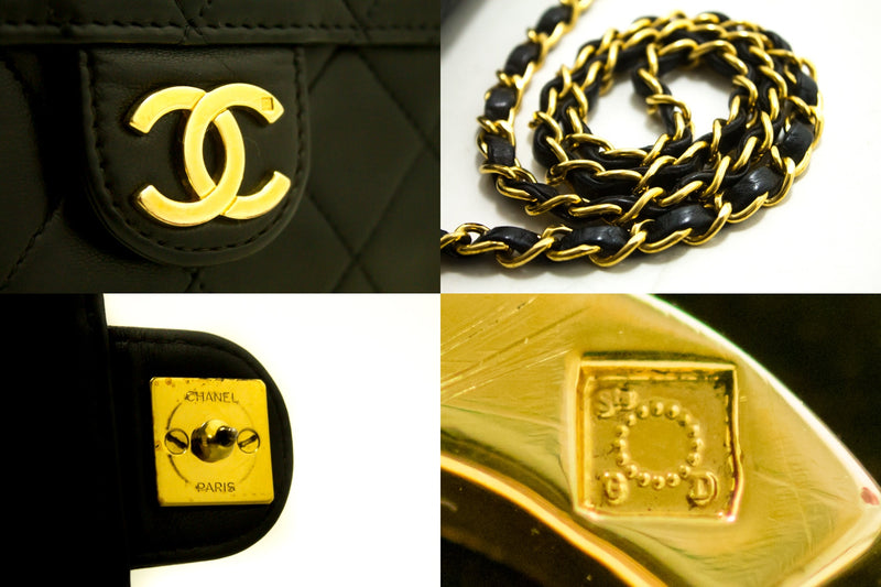 Chanel  Black Quilted Lambskin Classic Flap Bag (SHB-10175)
