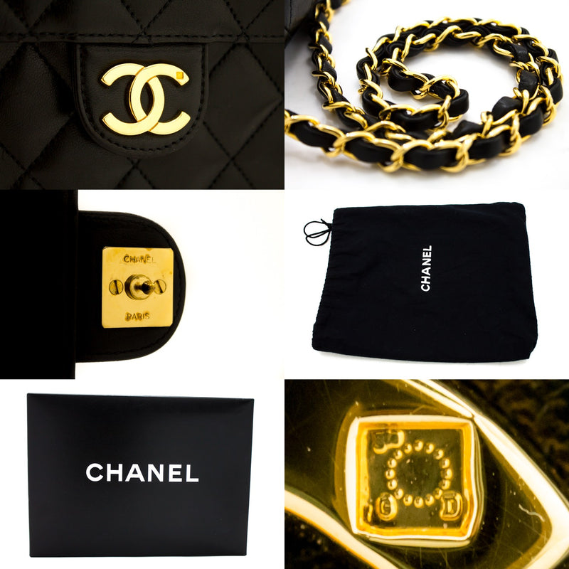 CHANEL Black Quilted Lambskin Classic Flap Bag (SHB-10298)