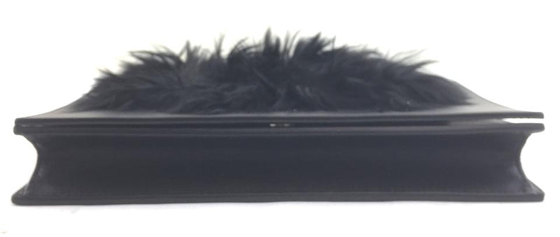 Céline Clutch Frame Black Leather and Fur Cross Body Bag