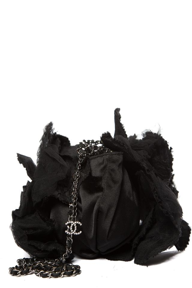 Chanel & Tulle Camellia Black Satin Shoulder Bag