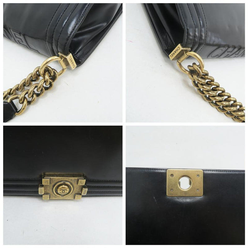 Chanel Boy Large Reverso Black Calfskin Leather Shoulder Bag