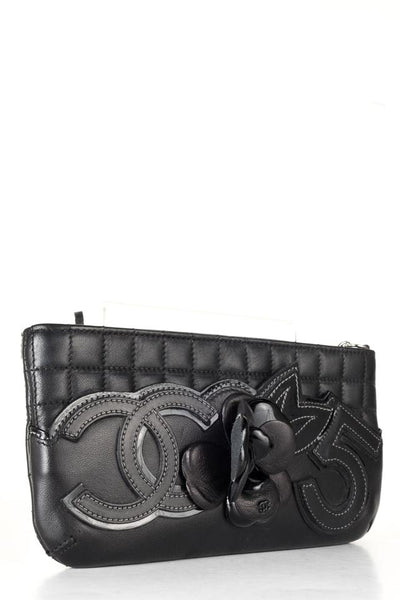 Chanel Cc 5 Pochette Black Leather Wristlet