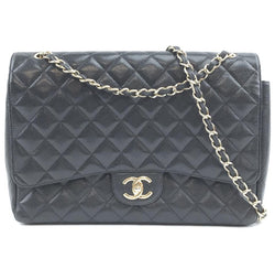Chanel Classic Flap Crossbody Large Cc Maxi Double 2 Way Cross Body Black with Gold Tone Hardware Quilted Caviar Leather Shoulder Bag