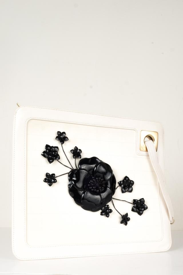 Chanel Floral Embellished White Leather Clutch