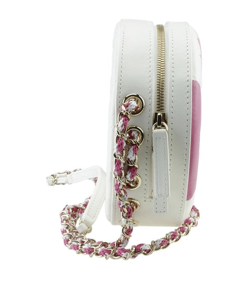 Chanel Coco Lifesaver White & Pink Whitexpink Leather Cross Body Bag