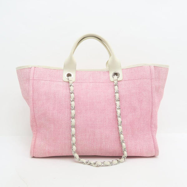 Chanel Deauville Cambon Large Satchel Pink Canvas Shoulder Bag