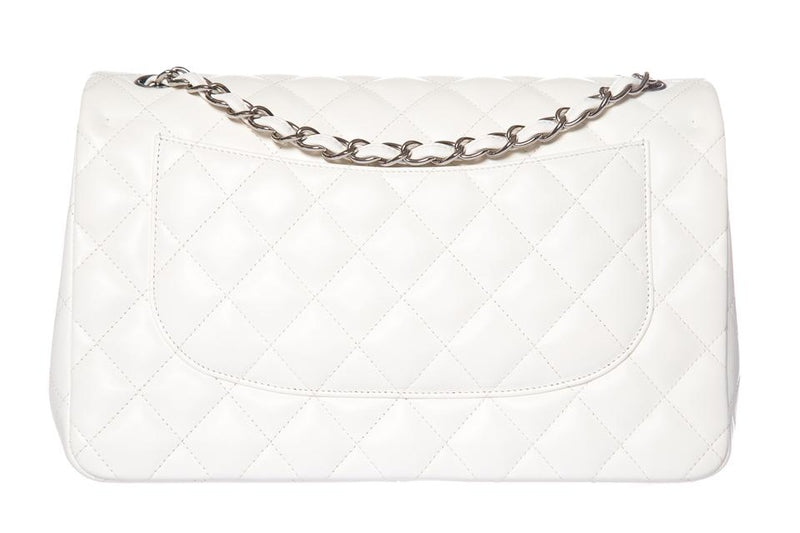 Chanel Double Flap Classic White Leather Shoulder Bag
