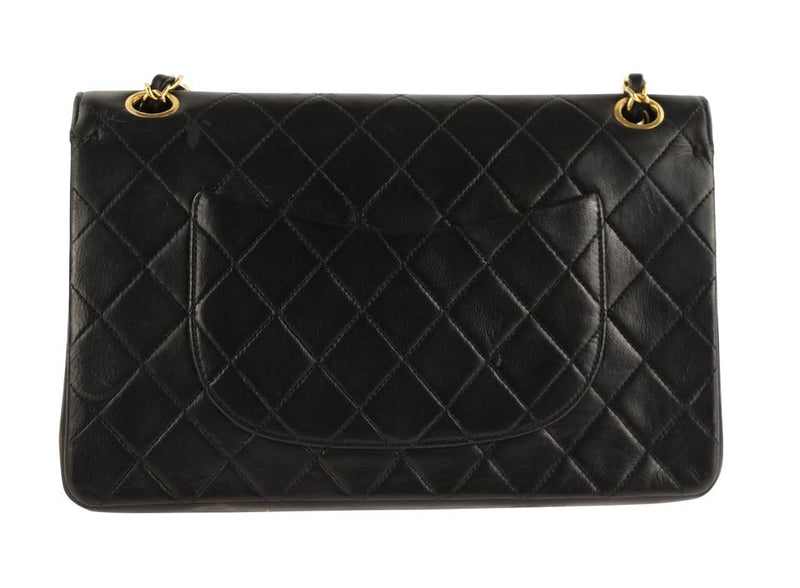 Chanel Double Flap Quilted Classic Black Lambskin Shoulder Bag