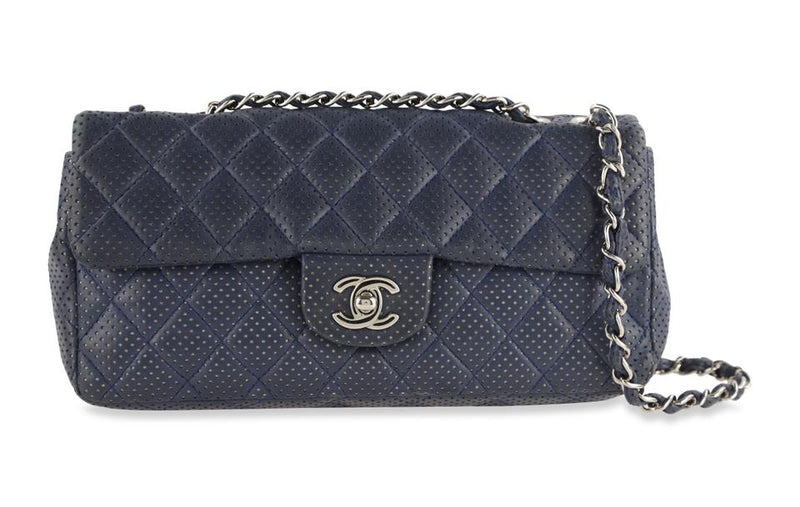 Chanel East West Perforated Flap Blue Lambskin Leather Shoulder Bag