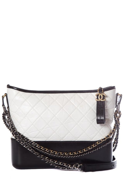 Chanel Gabrielle Quilted Handbag Black & White Calfskin Leather Hobo Bag