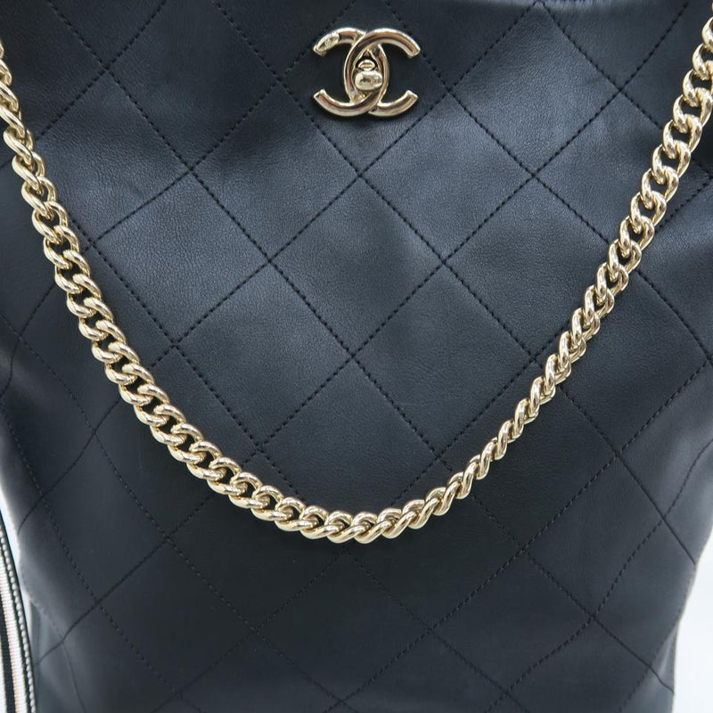 Chanel Drawstring Bucket 2018 Metiers D'art Hippie Striped Black Calfskin Leather Shoulder Bag