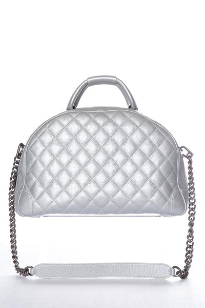 Chanel Round Trip Bowler Handle Silver Leather Tote