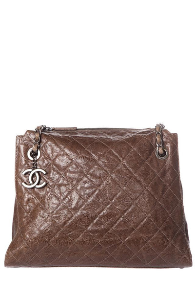 Chanel Taupe Caviar Brown Leather Tote