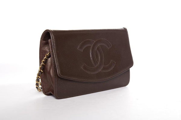 Chanel Wallet on Chain Caviar Timeless Cross-body Brown Leather Shoulder Bag