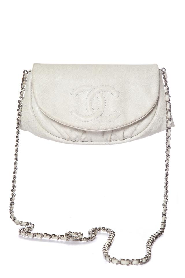 Chanel White Leather Cross Body Bag