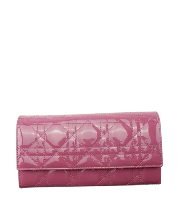 Dior Cannage Cannage Pochette Pink Patent Leather Clutch