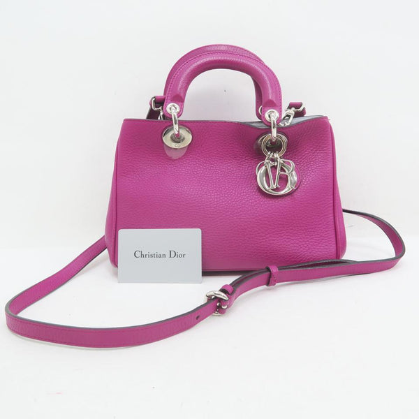 Dior Christian Diorissimo Small Hotpink Calfskin Leather Satchel