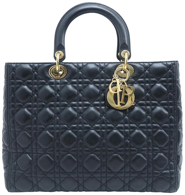 Dior Christian Large Black Lambskin Tote